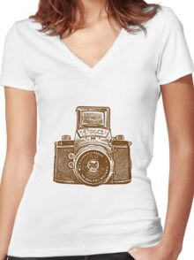 Giant East German Camera - Brown Women's Fitted V-Neck T-Shirt