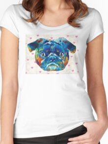 Pug Love Dog Art by Sharon Cummings Women's Fitted Scoop T-Shirt