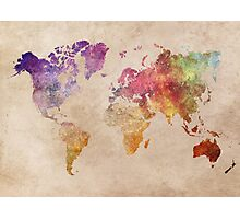 Map of the world art watercolor Photographic Print