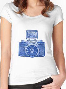 Giant East German Camera - Navy Blue Women's Fitted Scoop T-Shirt