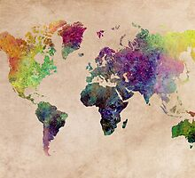 Watercolor world Map art by JBJart