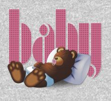 Sleeping Ted - Baby Pink Kids Clothes