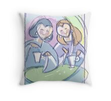 """Best Friends""- girls at the cafe Throw Pillow"