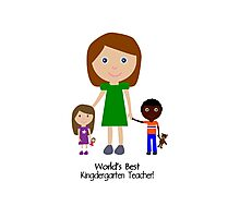 Worlds best kindergarten teacher cute cartoon geek funny nerd Photographic Print