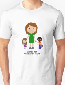 Worlds best kindergarten teacher cute cartoon geek funny nerd T-Shirt