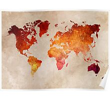 Map of the world Red World Poster