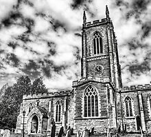 Orlingbury church (black and white) by Vicki Field