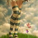 Cute Girl with Striped Socks by AnaCBStudio