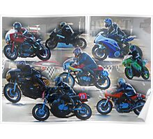 Collection of Motor Bikes Poster