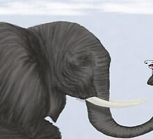 Bertha The Elephant And Her Visitor by OneArtsyMomma