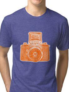 Giant East German Camera - Orange Tri-blend T-Shirt