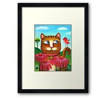 Cat in the Echinacea  Framed Print