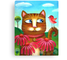 Cat in the Echinacea  Canvas Print