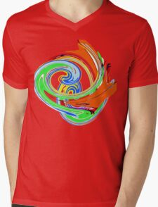 SWIRL Orange/Green T SHIRT Mens V-Neck T-Shirt