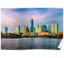 Colorful Austin Skyline Poster
