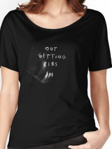 """""""Out Getting Ribs"""" white Women's Relaxed Fit T-Shirt"""