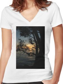 Nightfall at the Lake Women's Fitted V-Neck T-Shirt