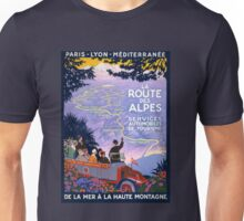 La route des Alpes Vintage Travel Poster Unisex T-Shirt