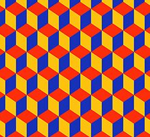 Block Pattern - Red, Amber and Blue by Artberry