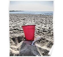At The Beach.....Red Pail Poster