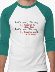 Funny Punctuation Grammar Humor Men's Baseball ¾ T-Shirt