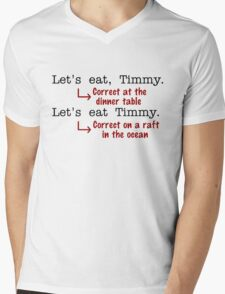 Funny Punctuation Grammar Humor Mens V-Neck T-Shirt