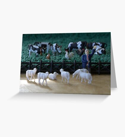 Although all of the animals agreed equally on the pasture rental terms, the sheep still felt they'd been fleeced. Greeting Card