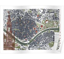 Seville city map engraving Poster