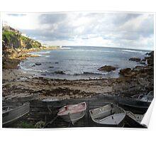 aluminium boats along Bronte walk Poster