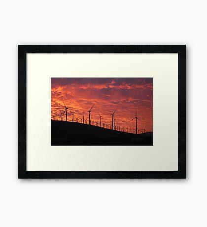 Malibu windfarm sunset-1 Framed Print