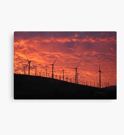 Malibu windfarm sunset-1 Canvas Print