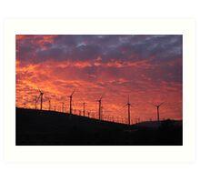 Malibu windfarm sunset-2 Art Print