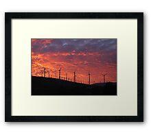Malibu windfarm sunset-2 Framed Print