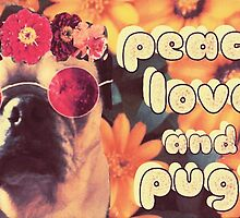 Flowered Hippie Pug by vwrites