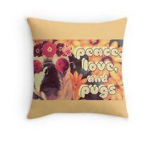 Flowered Hippie Pug Throw Pillow