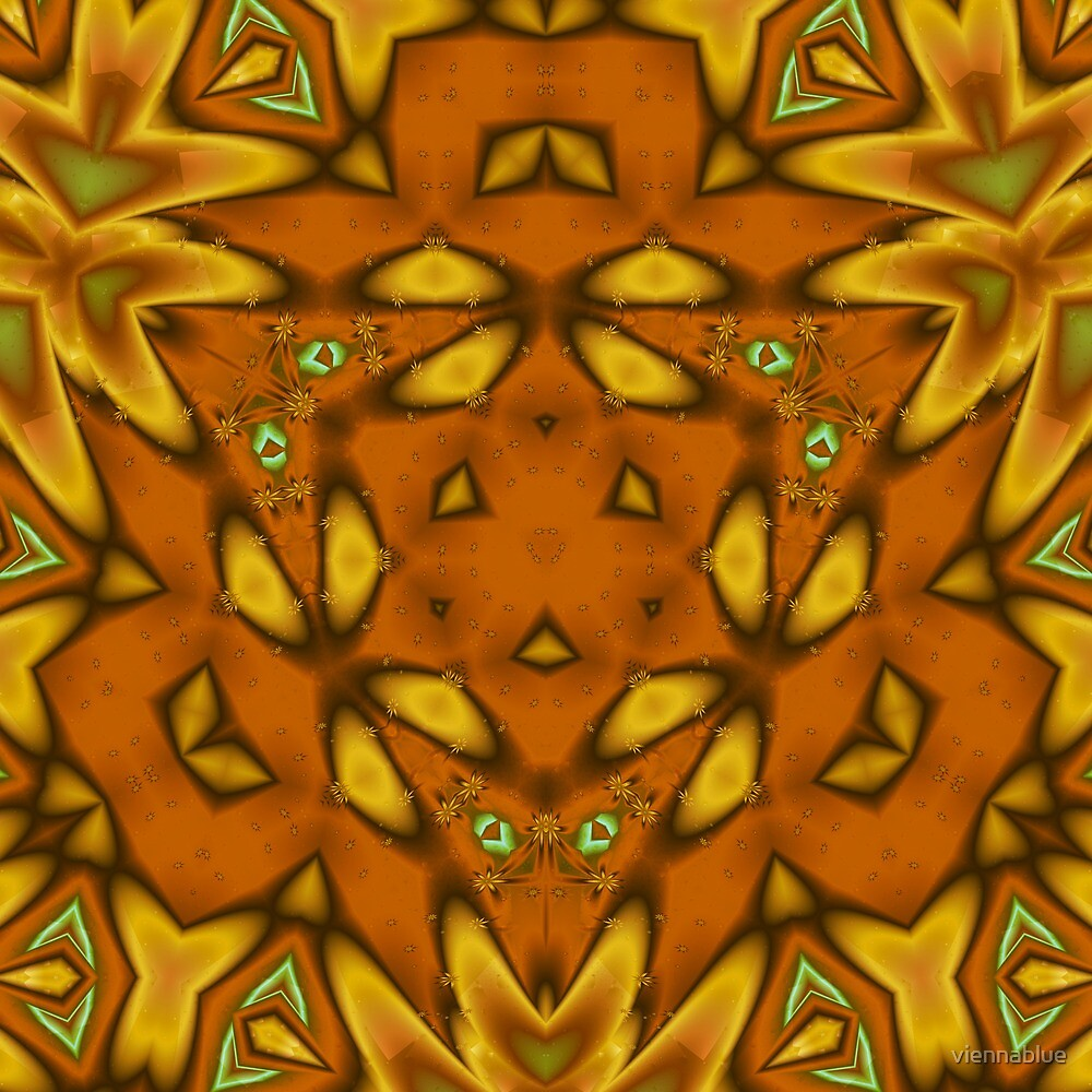 3 armed kaleidoscope in yellow & gold by viennablue