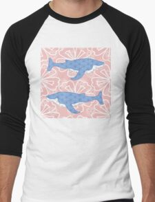 flower whale Men's Baseball ¾ T-Shirt