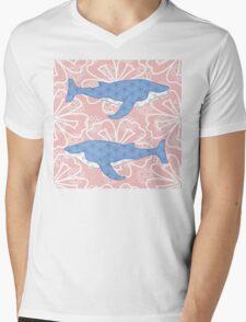 flower whale Mens V-Neck T-Shirt