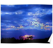 Bright Blue Cloudy Sky Poster
