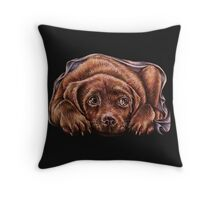 Drawing of Brown Labrador Dog In Blanket  Throw Pillow