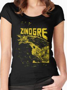 Monster Hunter- Zinogre Roar Design Yellow Women's Fitted Scoop T-Shirt