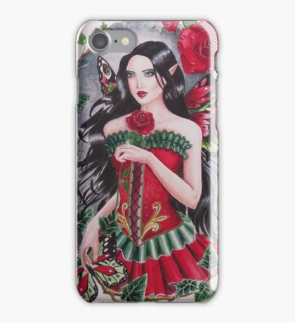 Red rose goth steampunk fairy faerie fantasy iPhone Case/Skin