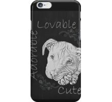Cute Chalk Art of White Pitbull iPhone Case/Skin