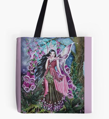 Foxglove digitalis fairy faerie, elf, pixie, fantasy Tote Bag