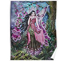 Foxglove digitalis fairy faerie, elf, pixie, fantasy Poster