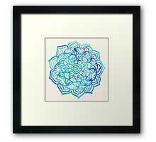 Watercolor Medallion in Ocean Colors Framed Print