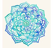 Watercolor Medallion in Ocean Colors Photographic Print