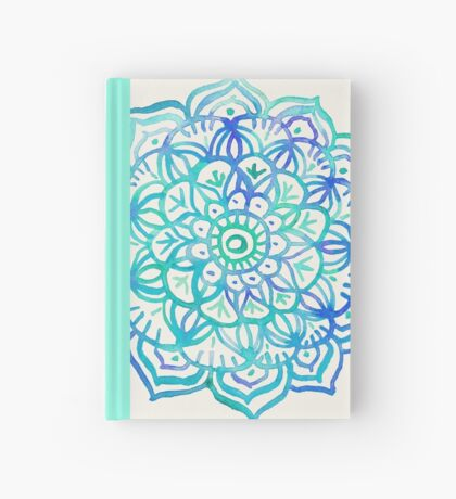 Watercolor Medallion in Ocean Colors Hardcover Journal
