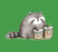 Raccoon on Bongos One Piece - Short Sleeve