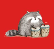 Raccoon on Bongos Kids Tee